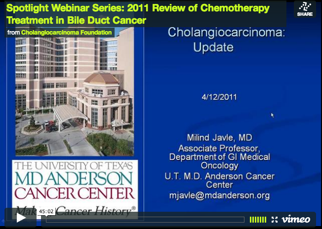 Spotlight Webinar Series: 2011 Review of Chemotherapy Treatment in Bile Duct Cancer