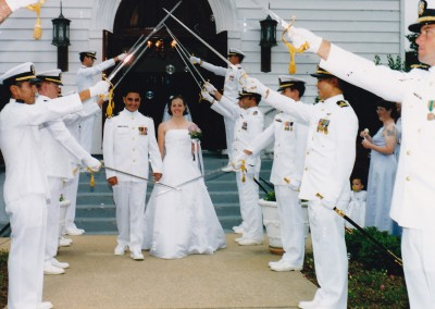 Sarah and Andy wedding day in 2003. Sarah loved being a military spouse.