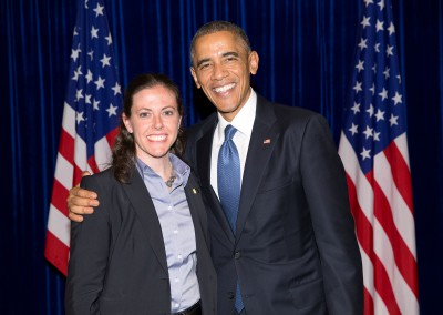 Sarah with President Obama at the US Embassy - Beijing 2014
