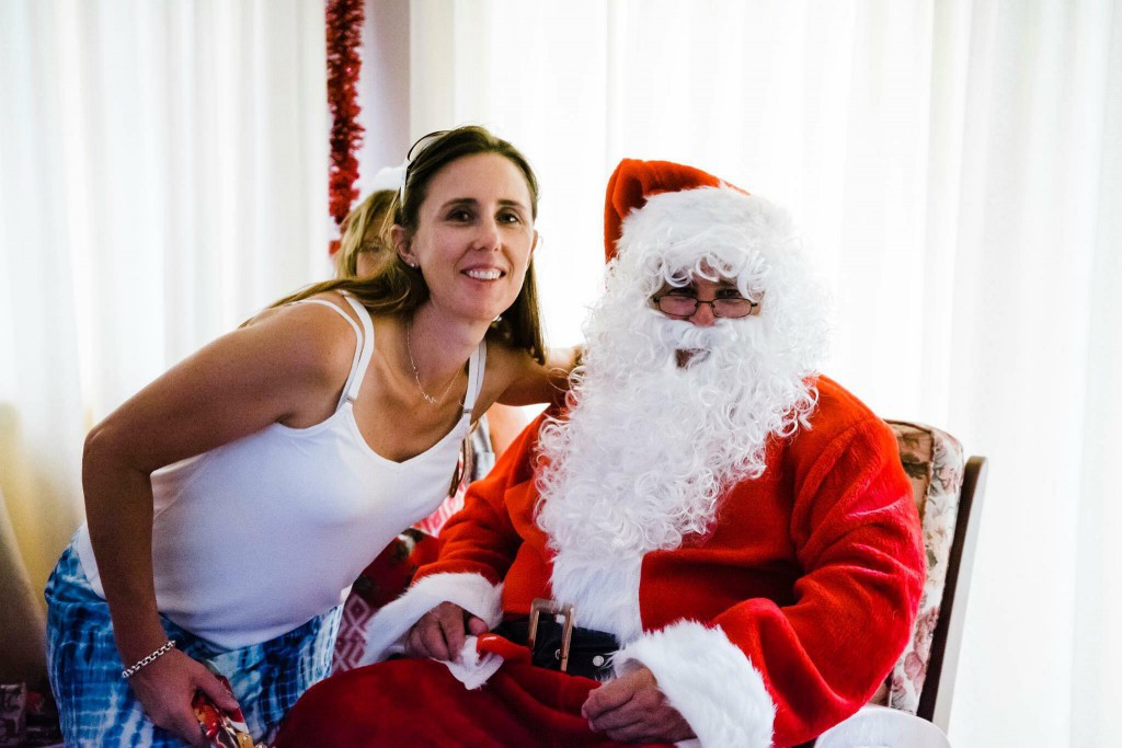 Andy's partner, Rachael, pictured with Santa.
