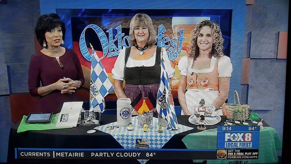 Heidi and her daughter, Heather Burbrink, dressed in their dirndls promoting the event.