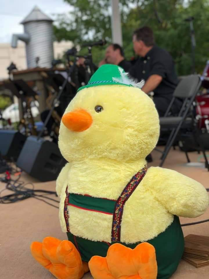 Billy Rubin, the duck, in his lederhosen.  He helps spread awareness about cholangiocarcinoma and that it is commonly known as bile duct cancer.